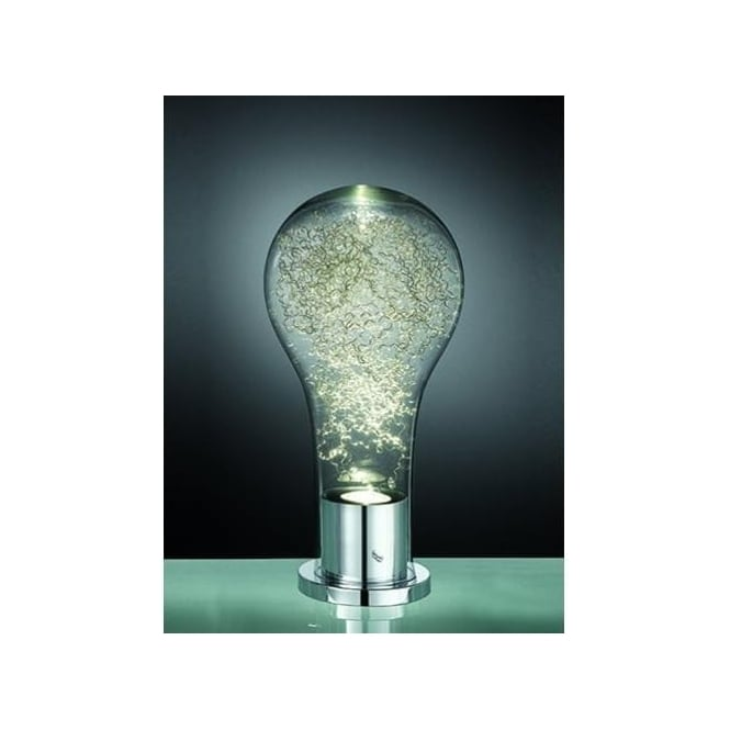 Franklite Frenzy Single Light LED Table Lamp In Polished Chrome And Clear Gla