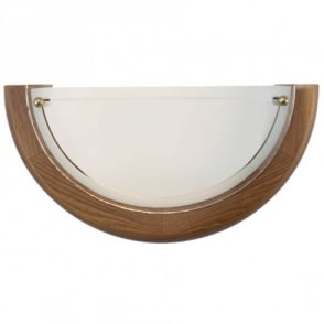 UFO 1 Uplighter Style Wall Fitting in Oak Surround