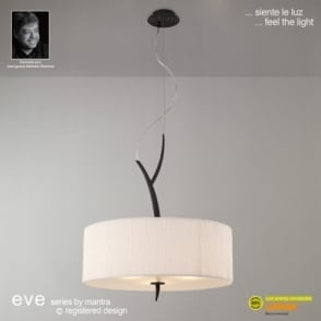 Eve 3 Light Ivory White Ceiling Pendant with Anthracite Finish
