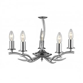 Elka 5 Light Multi-Arm Ceiling Fitting in Satin Chrome Finish