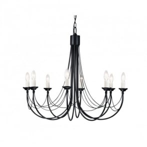 Carisbrooke 8 Light Candelabra Style Ceiling Fitting in a Black Finish