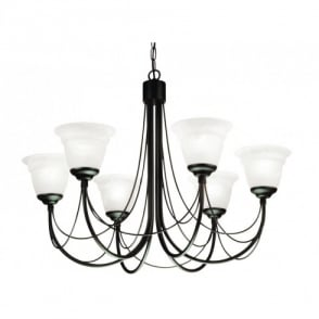 Carisbrooke 6 Light Candelabra Style Ceiling Fitting in a Black Finish