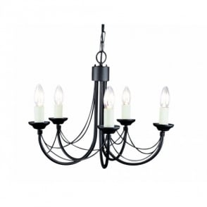 Carisbrooke 5 Light Candelabra Style Ceiling Fitting in a Black Finish
