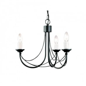 Carisbrooke 3 Light Candelabra Style Ceiling Fitting in Black Finish