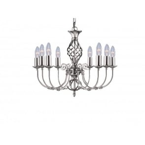 Zanzibar 8 Light Ceiling Fitting In Satin Silver Finish