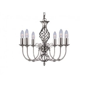 Zanzibar 6 Light Ceiling Fitting In Satin Silver Finish
