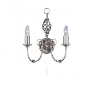 Zanzibar 2 Light Wall Fitting In Satin Silver Finish
