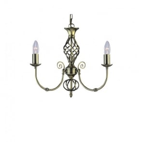 Zanzibar 3 Light Multi-Arm Ceiling Fitting in Antique Brass Finish