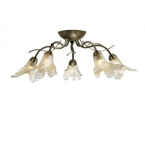 Lily 5 Light Semi Flush Ceiling Fitting with an Antique Brass Finish Finish