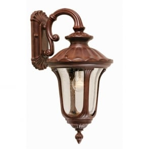 Chicago Single Light External Hanging Wall Lantern with a Rusty Bronze Patina