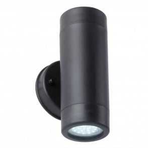 Enluce Double Light LED Outdoor Wall Spotlight Fitting In Black Finish