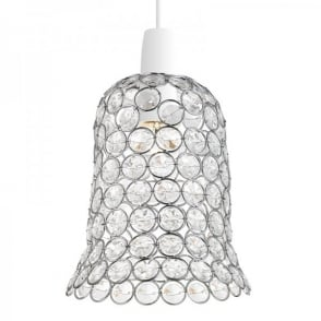 Kirkham Ceiling Light Pendant Shade In Polished Chrome Finish With Clear Acrylic Beads