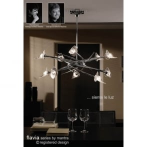 Flavia 10 Light Ceiling Pendant Fitting in Polished Chrome Finish