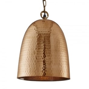 Hammered Single Light Ceiling Pendant in a Shiny Copper Finish