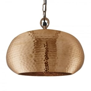 Single Light Hammered Elliptical Ceiling Pendant in Copper Finish