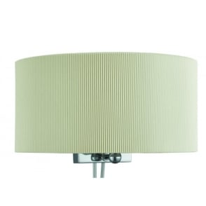 2 Light Wall Fitting In Polished Chrome Finish With Cream Half Drum Pleat Shade
