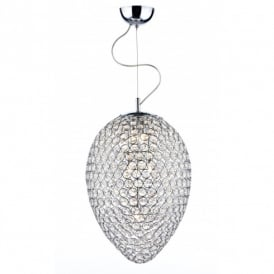 Dar Lighting Frost 3 Light Crystal Ceiling Pendant in a Polished Chrome Frame