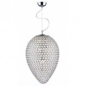 Dar Lighting Frost 5 Light Crystal Ceiling Pendant in a Polished Chrome Frame