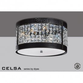 Celsa 3 Light Crystal Ceiling Fitting with Black Faux Leather Detail