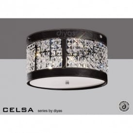 Celsa 3 Light Crystal Ceiling Fitting with Brown Faux Leather Detail