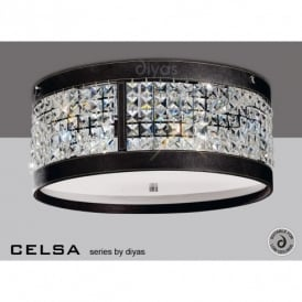 Celsa 4 Light Crystal Ceiling Fitting with Brown Faux Leather Detail