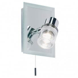 Enluce Single Light Halogen Switched Wall Fitting In Polished Chrome And Mirror Finish