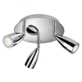 Storm 3 Light LED Circular Ceiling Plate in a Polished Chrome Finish