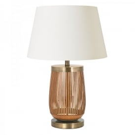 Albiston Single Light Table Lamp Base In Clear Glass And Tan Leather Finish
