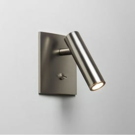 Enna Single Light LED Square Switched Wall Fitting In Matt Nickel Finish
