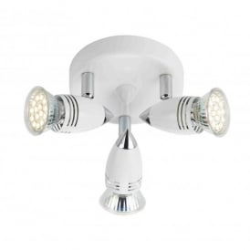 Gemini 3 Light LED Ceiling Fitting In White And Polished Chrome Finish