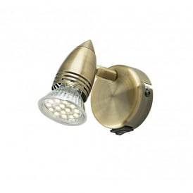 Gemini Single Light Switched LED Wall Fitting In Antique Brass Finish
