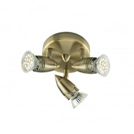 Gemini 3 Light LED Ceiling Fitting In Antique Brass Finish