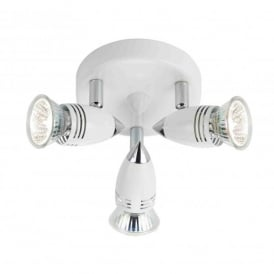 Gemini 3 Light Halogen Ceiling Fitting In White And Polished Chrome Finish
