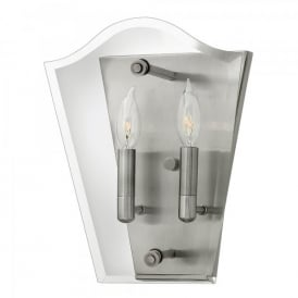 Hinkley Wingate 2 Light Wall Fitting In Polished Antique Nickel Finish With Clear Glass Panels