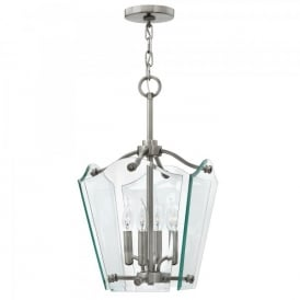 Hinkley Wingate 4 Light Ceiling Pendant In Polished Antique Nickel Finish With Clear Glass Panels