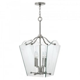 Hinkley Wingate 4 Light Medium Ceiling Pendant In Polished Antique Nickel Finish With Clear Glass Panels