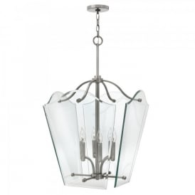 Hinkley Wingate 6 Light Large Ceiling Pendant In Polished Antique Nickel Finish With Clear Glass Panels