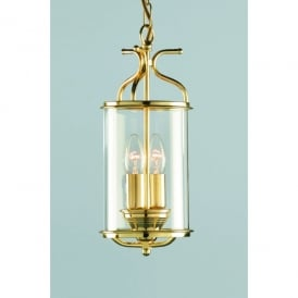 Winchester 2 Light Indoor Ceiling Lantern Pendant In Polished Brass Finish