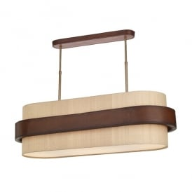 Saddler 4 Light Ceiling Pendant In Tanned Leather Effect Finish And 100% Silk Shade