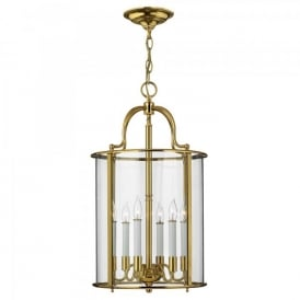Hinkley Gentry 6 Light Ceiling Pendant In Polished Solid Brass Finish