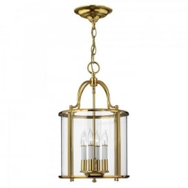 Hinkley Gentry 4 Light Flush Ceiling Fitting In Polished Solid Brass Finish