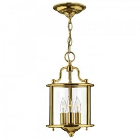 Hinkley Gentry 3 Light Ceiling Pendant In Polished Solid Brass Finish