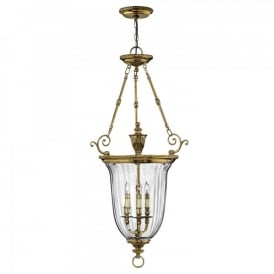Hinkley Cambridge 3 Light Large Ceiling Pendant In Burnished Brass Finish