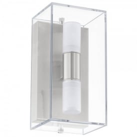 Benaco 2 Light Outdoor Wall Fitting In Stainless Steel And Clear Glass Finish