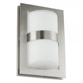 Archa Single Light Outdoor Stainless Steel Wall Fitting In Satin Nickel And White Glass Finish