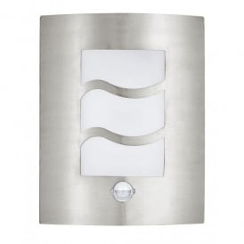 City 1 Single Light Outdoor Wall Fitting in Stainless Steel with PIR Sensor