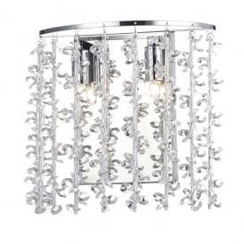Sestina 2 Light Switched Wall Lamp in Polished Chrome Finish with Crystal Glass