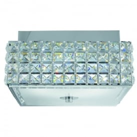Rados LED Semi Flush Square Ceiling Fitting In Polished Chrome Finish With Crystal Glass Diffuser