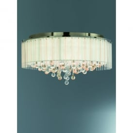 Ambience 8 Light Flush Ceiling Fitting in Bronze And Crystal Glass Finish