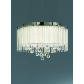 Ambience 6 Light Flush Ceiling Fitting in Bronze And Clear Crystal Glass Finish